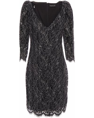 Czarna sukienka mini koronkowa z szyfonu Rachel Zoe