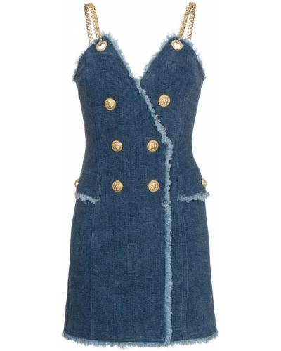 Платье мини джинсовое алюминиевый Balmain