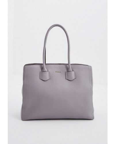 Кожаная сумка серая с ручками Furla