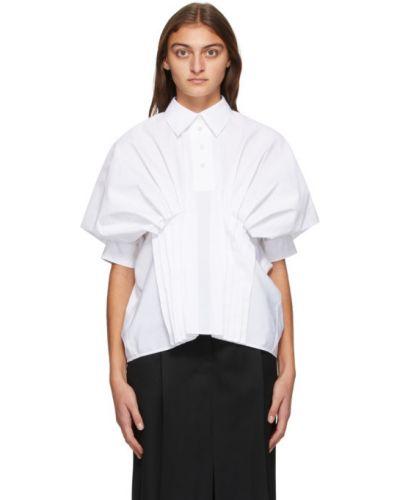С рукавами хлопковая белая рубашка с воротником Nina Ricci