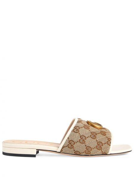 Beżowe złote sandały płaska podeszwa Gucci