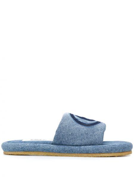 Хлопковые синие открытые слиперы с открытым носком Mm6 Maison Margiela