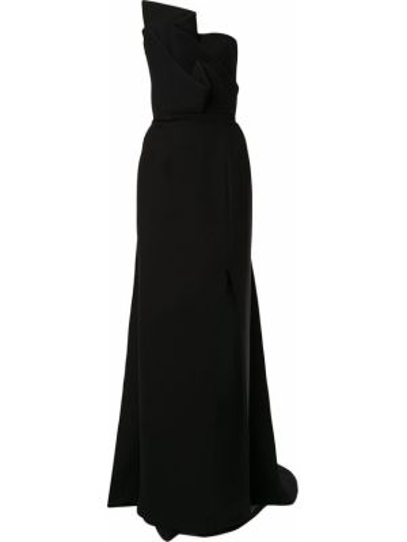 Расклешенное приталенное вечернее платье с драпировкой с вырезом Azzi & Osta