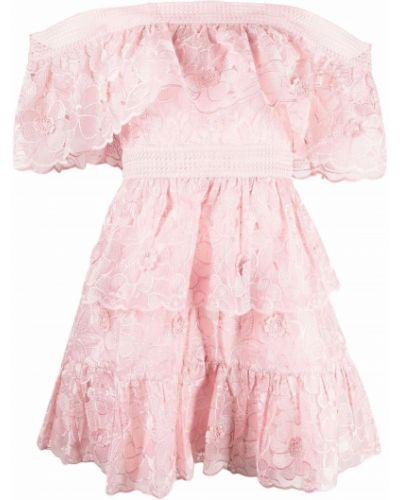 Платье мини с открытыми плечами - розовое Self-portrait
