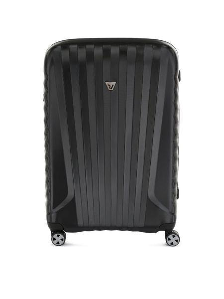 Черный чемодан металлический с подкладкой прямоугольный Roncato