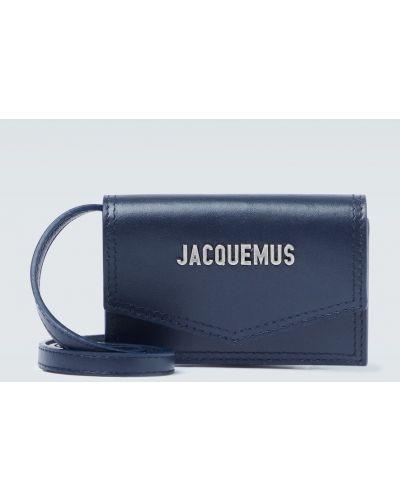 Niebieski z paskiem torba na ramieniu z prawdziwej skóry Jacquemus