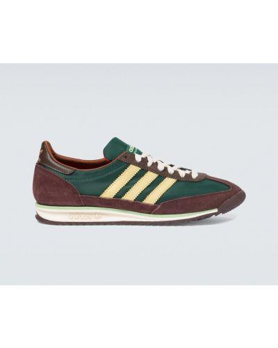 Zielony skórzany sneakersy z paskami zabytkowe Adidas Originals