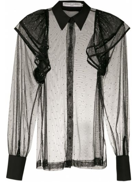 С рукавами черная классическая рубашка с воротником Reinaldo Lourenço