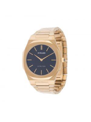 Золотистые кожаные часы водонепроницаемые золотые D1 Milano