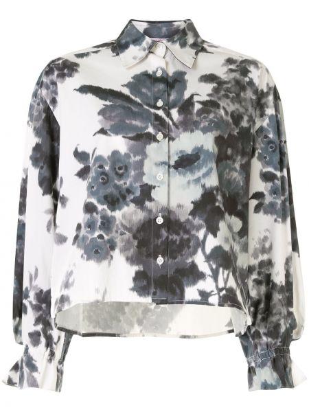 Прямая классическая блузка с воротником на пуговицах Carolina Herrera