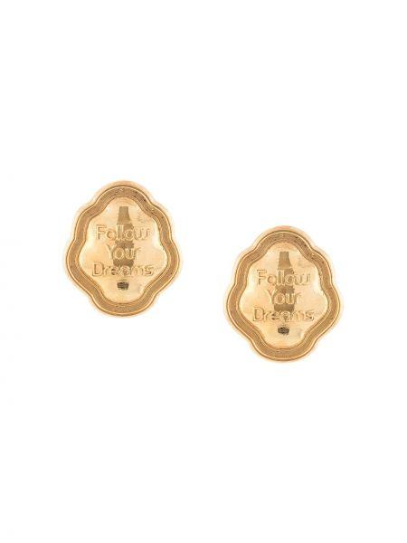 Золотистые желтые золотые серьги позолоченные с декоративной отделкой Natia X Lako