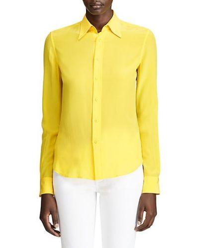 Żółta klasyczna koszula elegancka z długimi rękawami Ralph Lauren