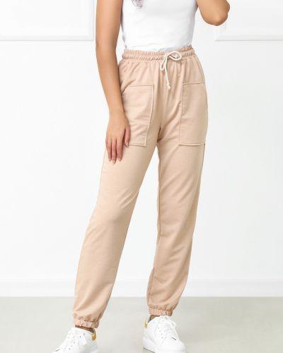 Трикотажные спортивные брюки - бежевые Fashion Girl