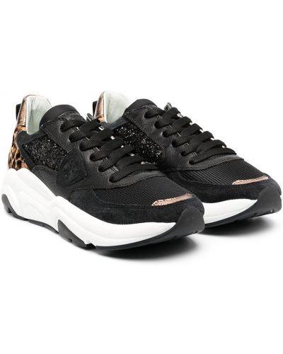 Кожаные черные кроссовки с нашивками на шнуровке Philippe Model Kids