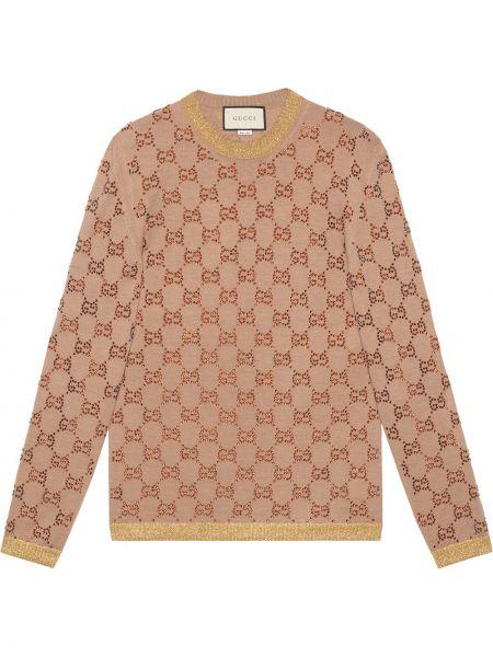 Бежевый свитер с люрексом с круглым вырезом круглый Gucci