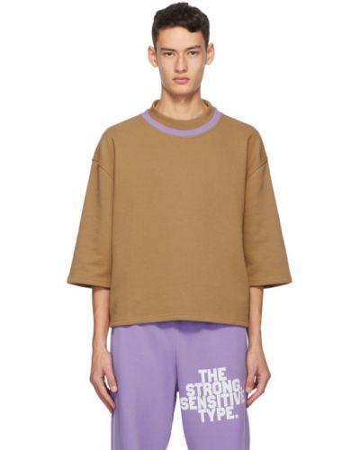 Fioletowy t-shirt w paski bawełniany Martin Asbjorn