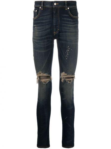 Klasyczny niebieski jeansy z łatami rozciągać Represent