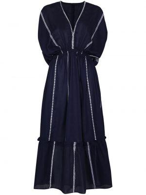 Синее хлопковое платье миди Lemlem