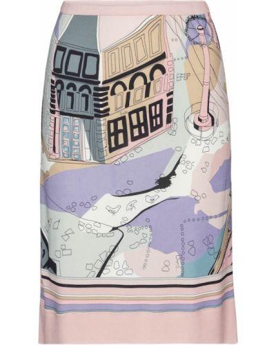 Розовая трикотажная юбка миди Emilio Pucci