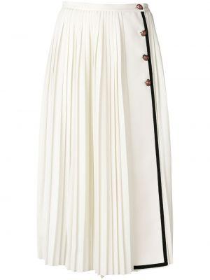 Плиссированная юбка миди с запахом Gucci