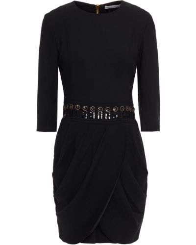 Платье мини с пайетками - черное Pierre Balmain
