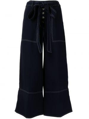 Свободные синие укороченные брюки свободного кроя Eudon Choi