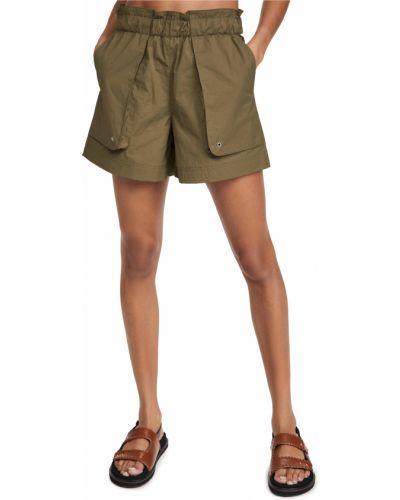 Текстильные зеленые шорты с карманами Helmut Lang