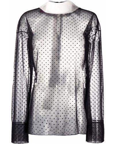 Черная прямая блузка с длинным рукавом с воротником прозрачная Viktor & Rolf