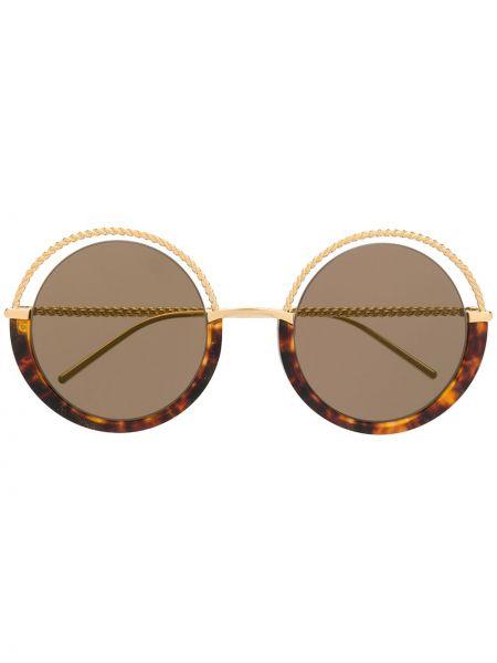 Золотистые солнцезащитные очки металлические хаки Boucheron Eyewear