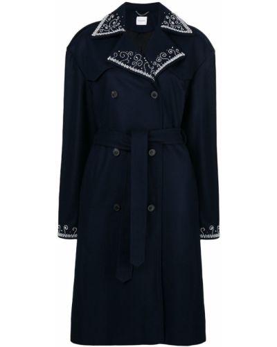 Синее шерстяное пальто с воротником Magda Butrym