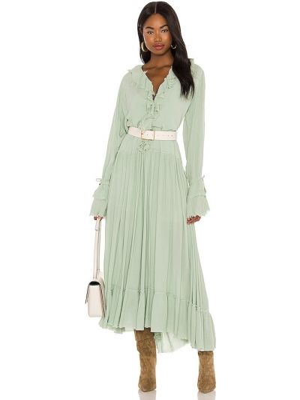Платье макси с бахромой - зеленое Free People
