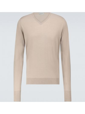 Бежевый шерстяной свитер с V-образным вырезом John Smedley