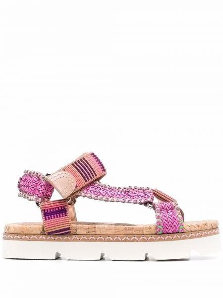 Розовые плетеные кожаные сандалии Casadei