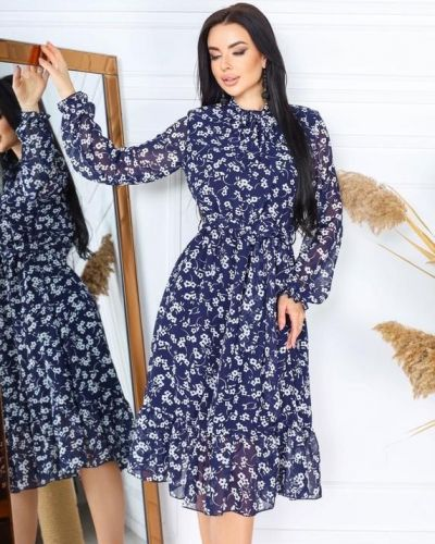 Шифоновое синее платье в цветочный принт G&m