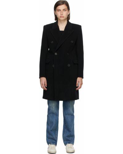 Черное пальто на пуговицах Saint Laurent