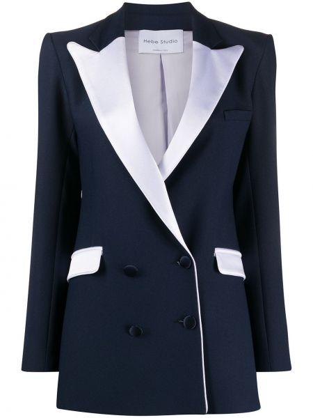 Синий удлиненный пиджак с карманами Hebe Studio