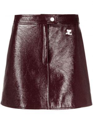 Красная прямая кожаная юбка мини Courrèges