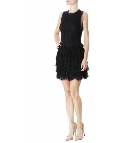 Черное платье мини с оборками из вискозы Jay Ahr