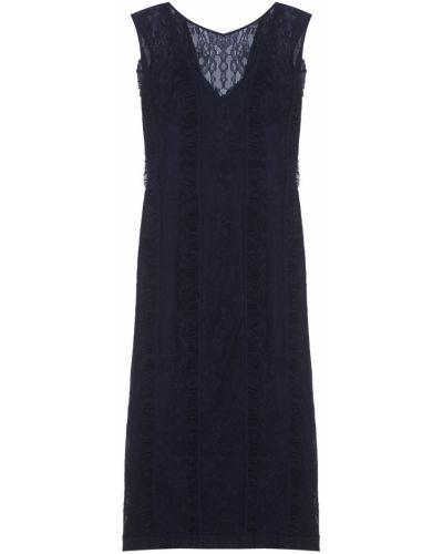 Гипюровое ажурное синее платье макси Laroom