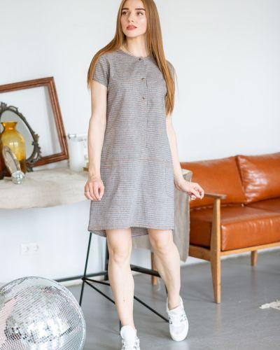 С рукавами домашнее летнее платье на кнопках с декоративной отделкой Lovitton