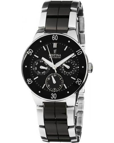 Водонепроницаемые часы черные с подсветкой Festina