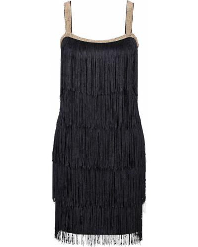 Черное вечернее платье с бахромой на бретелях Bonprix