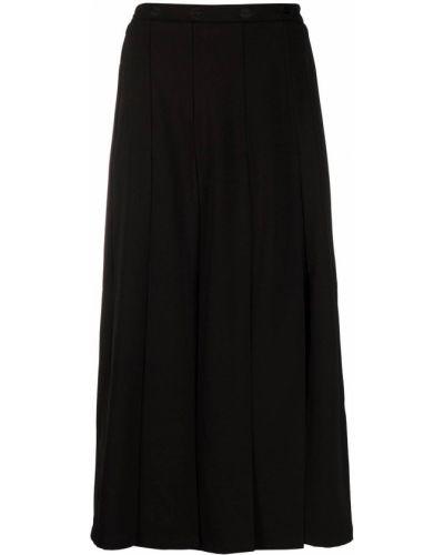 Черная с завышенной талией юбка миди с разрезом Markus Lupfer