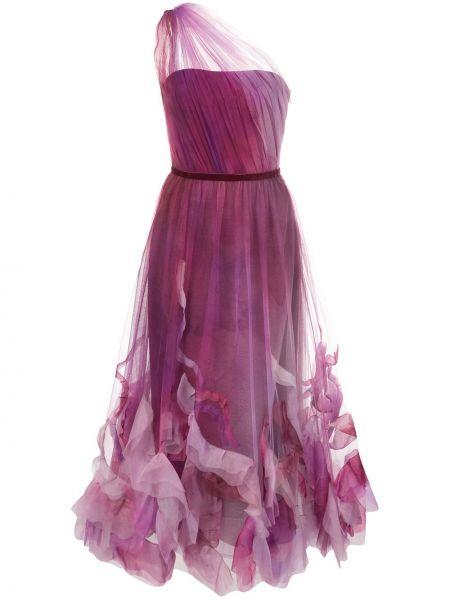 Платье миди на молнии с открытыми плечами Marchesa Notte