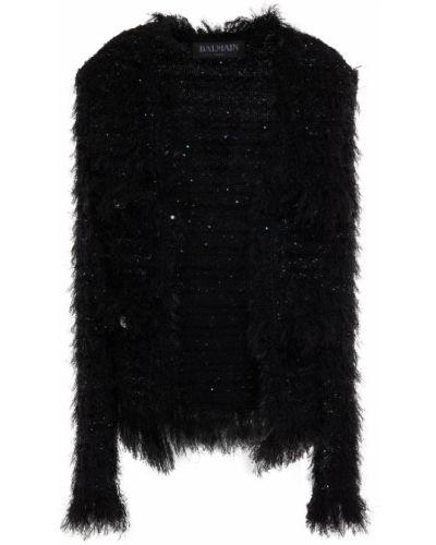 Черная куртка с заплатками Balmain