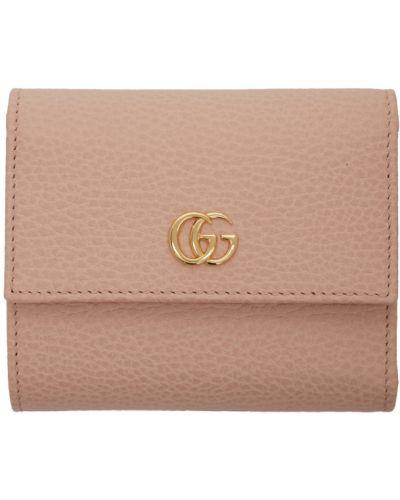 Skórzany czarny portfel skórzany prążkowany z gniazdem Gucci