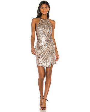 Платье мини на молнии золотое металлическое с подкладкой J.o.a.