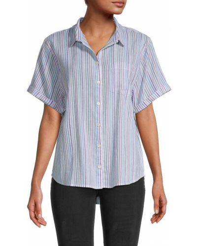 Хлопковая рубашка с короткими рукавами в полоску Madewell