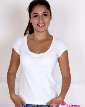 Спортивная футболка белая приталенная Lika Dress