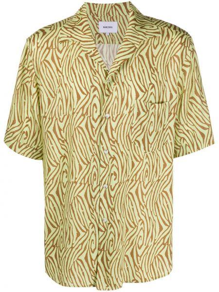Koszula krótkie z krótkim rękawem na kręgle z kołnierzem Nanushka